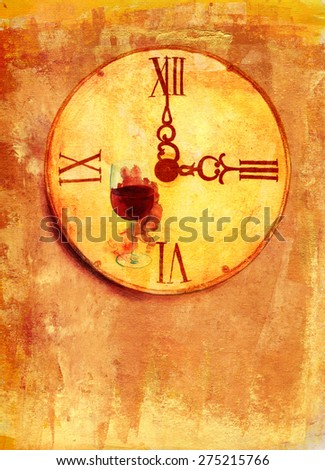 A grunge watercolor drawing of a vintage clock with a glass of red wine on a textured artistic background with a place for text