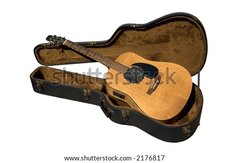 a guitar and case on a white background - stock photo