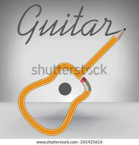 A Guitar Pencil Writes its Own Name - stock photo