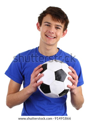 A guy holding a football isolated on white. - stock photo