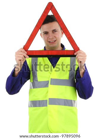 A guy holding a hazard warning triangle, isolated on white - stock photo