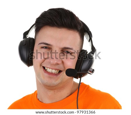 A guy using a headset, isolated on white - stock photo