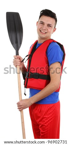 A guy wearing a safety vest, isolated on white - stock photo