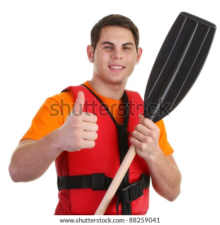 A guy wearing lifejacket with a thumbs up sign - stock photo