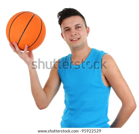A guy with a basketball, isolated on white - stock photo