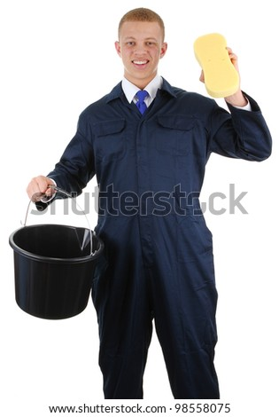 A guy with a bucket and a sponge, isolated on white