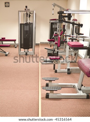 a gym and stationary equipment