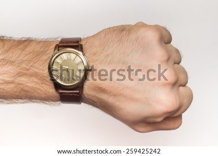 A hairy wrist with watch close up - stock photo