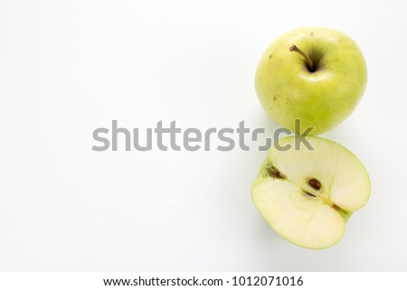 a half apple, in different positions