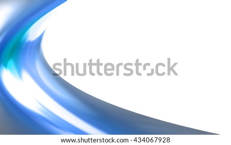 a half blue curved with a white background
