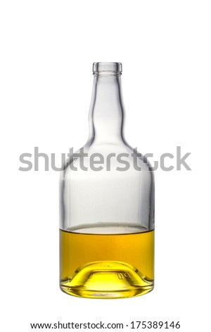 A half full open whiskey bottle isolated on white - stock photo