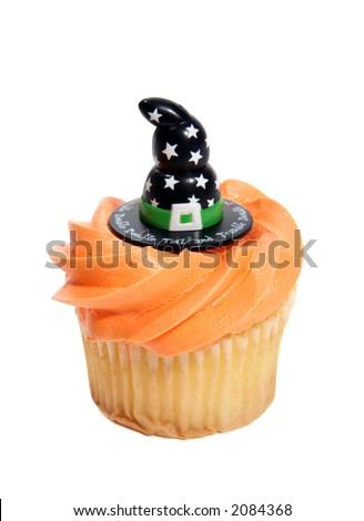 A halloween cupcake with a witches hat - stock photo