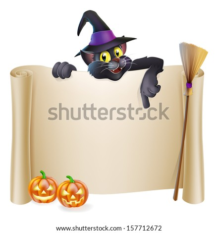A Halloween scroll sign with a cat character above the banner, pumpkins and witch's hat and broomstick - stock photo