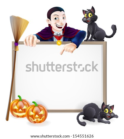A Halloween sign with a classic Dracula vampire character pointing down and witch's black cats, broomstick and Halloween carved orange pumpkins - stock photo