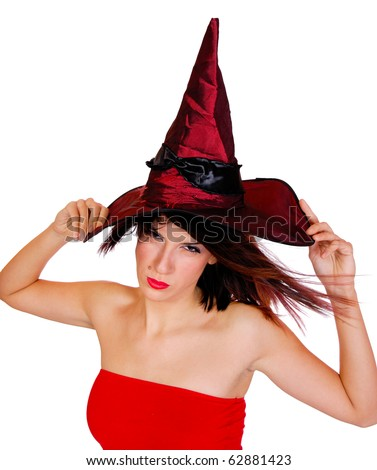 A Halloween Witch posing over white background