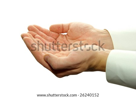 A hand begging alms on a white background
