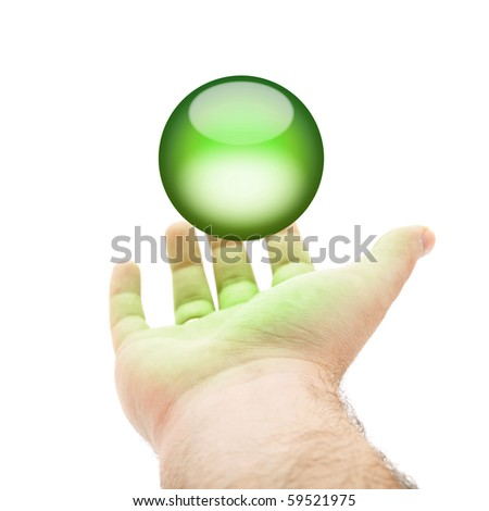 A hand being held out with a green orb or round button hovering above.