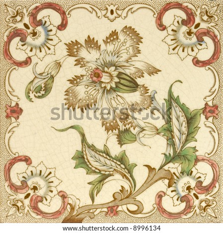 A hand coloured Victorian period aesthetic design architectural tile - stock photo