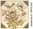 A hand coloured Victorian period aesthetic design poppy flower  tile - stock photo