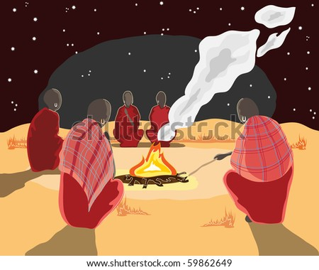 a hand drawn illustration of a group of masai men sitting around a camp fire under the stars - stock photo