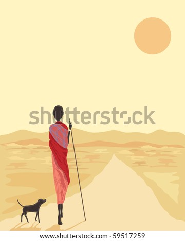 a hand drawn illustration of a masai man with his dog walking along a road in africa under the setting sun - stock photo