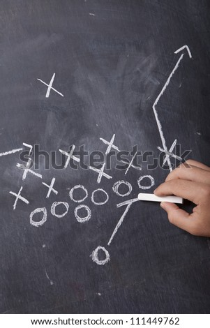 A hand draws a football play on a chalkboard with chalk. - stock photo
