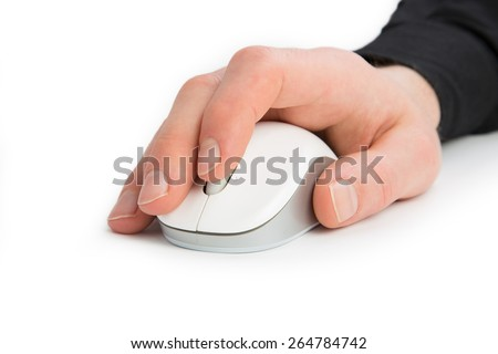 A Hand from a Businessman uses the mouse wheel isolated on a white background. - stock photo