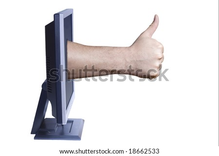 A hand give its approval through a computer monitor.