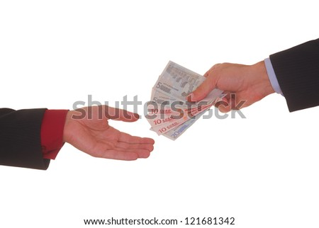 A hand giving money to other hand isolated on white background - stock photo