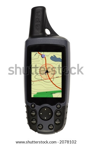A hand held GPS unit displaying a map with pointer locator arrow following a road - stock photo