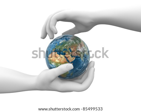 A hand holding a earth globe. 3d render illustration
