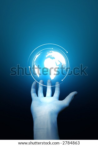 A hand holding a spinning globe. - stock photo