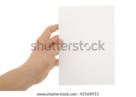 a hand holding blank paper sheet - stock photo