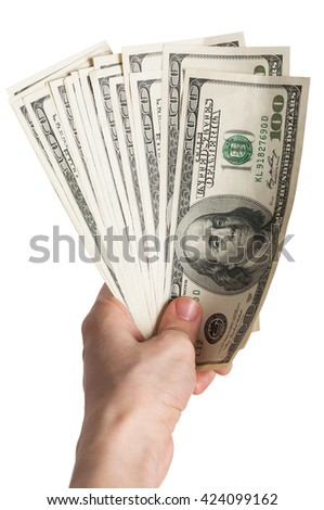 A hand holding 100 dollar bills