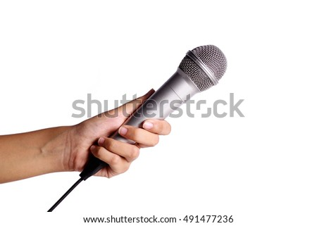 a hand holding microphone isolated on white background