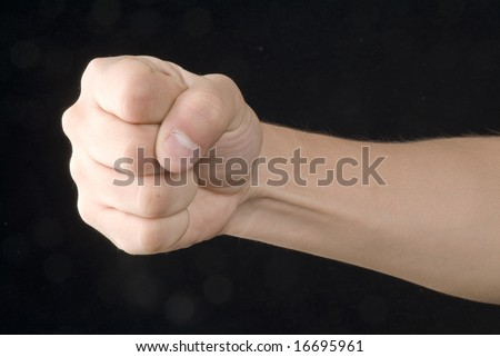 A hand in fight signal - stock photo