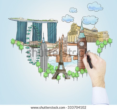 A hand is drawing sketches of the most famous touristic places on the light blue background. The concept of tourism and sightseeing. - stock photo