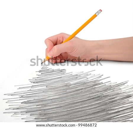A hand is holding a pencil with a large scribble texture perspective. There is a white, isolated background. Add your text to the copyspace above or in the doodle drawing. - stock photo