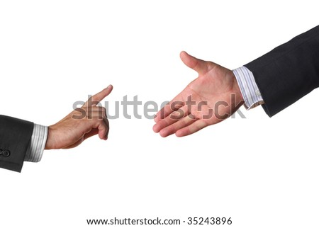 A hand is offering deal but other sad hold on