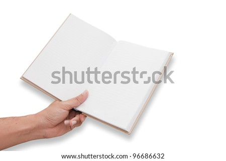 A hand is opening blank page notebook6 - stock photo