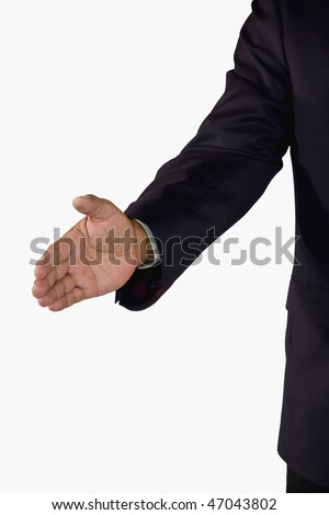 a hand of a senior African-American businessman reached out for a welcoming handshake, isolated on white background - stock photo