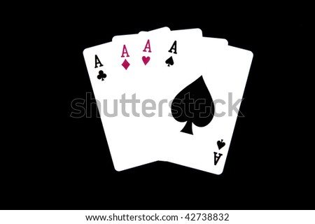 A Hand of Playing Card displaying Four Aces - stock photo