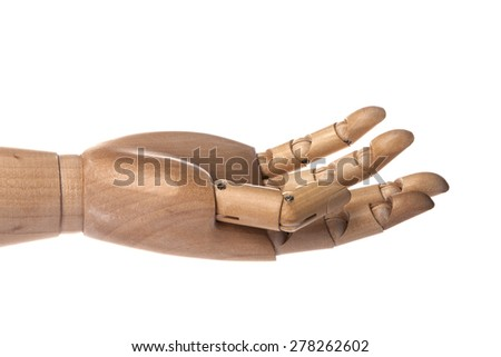 A hand of wood doll make palm to touch, connect, communication, shake, love isolated white background at the studio. - stock photo