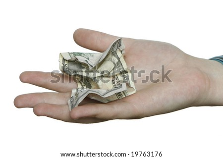 A hand on a pure white background holding a cumpled fifty dollar bill. - stock photo