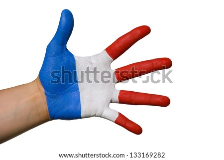 a hand painted in the colors of france, isolated - stock photo