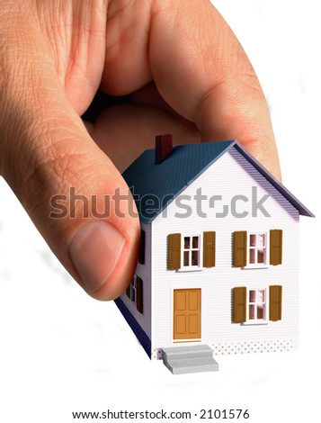 a hand picking a house, all isolated over white