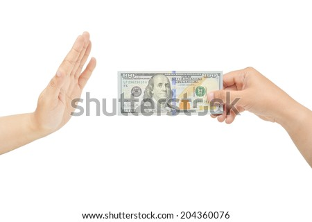 A hand's gesture for refusing bribe. Do not want money. - stock photo