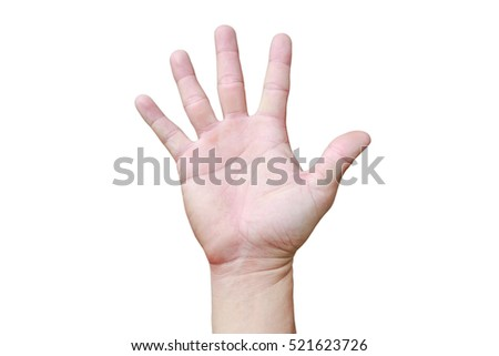 A hand shows in signal of paper or number five on white background.