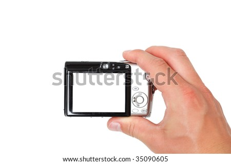 A hand taking digital pictures