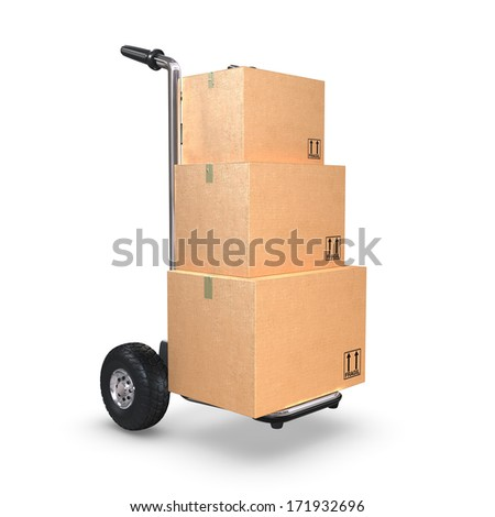 A Hand-Truck with three cardboard boxes on white background standing upright. - stock photo